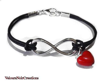 Bracciale simbolo infinito e cuore rosso