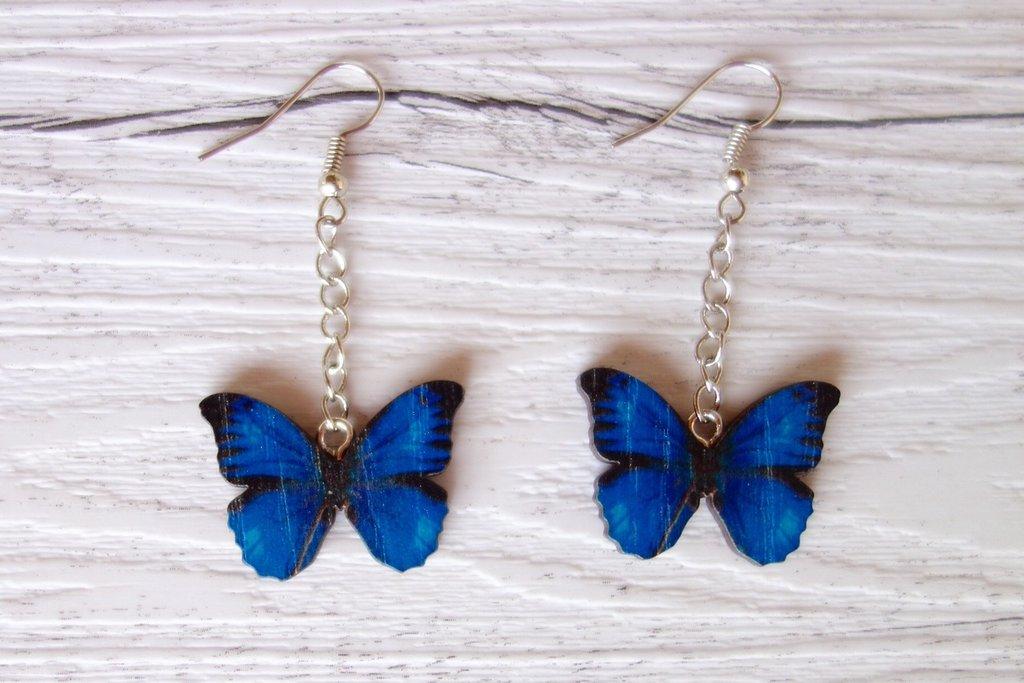 Orecchini Farfalla in legno (toni del blu) - un aiuto agli animali abbandonati, negozio solidale pro cani e gatti di Treviso