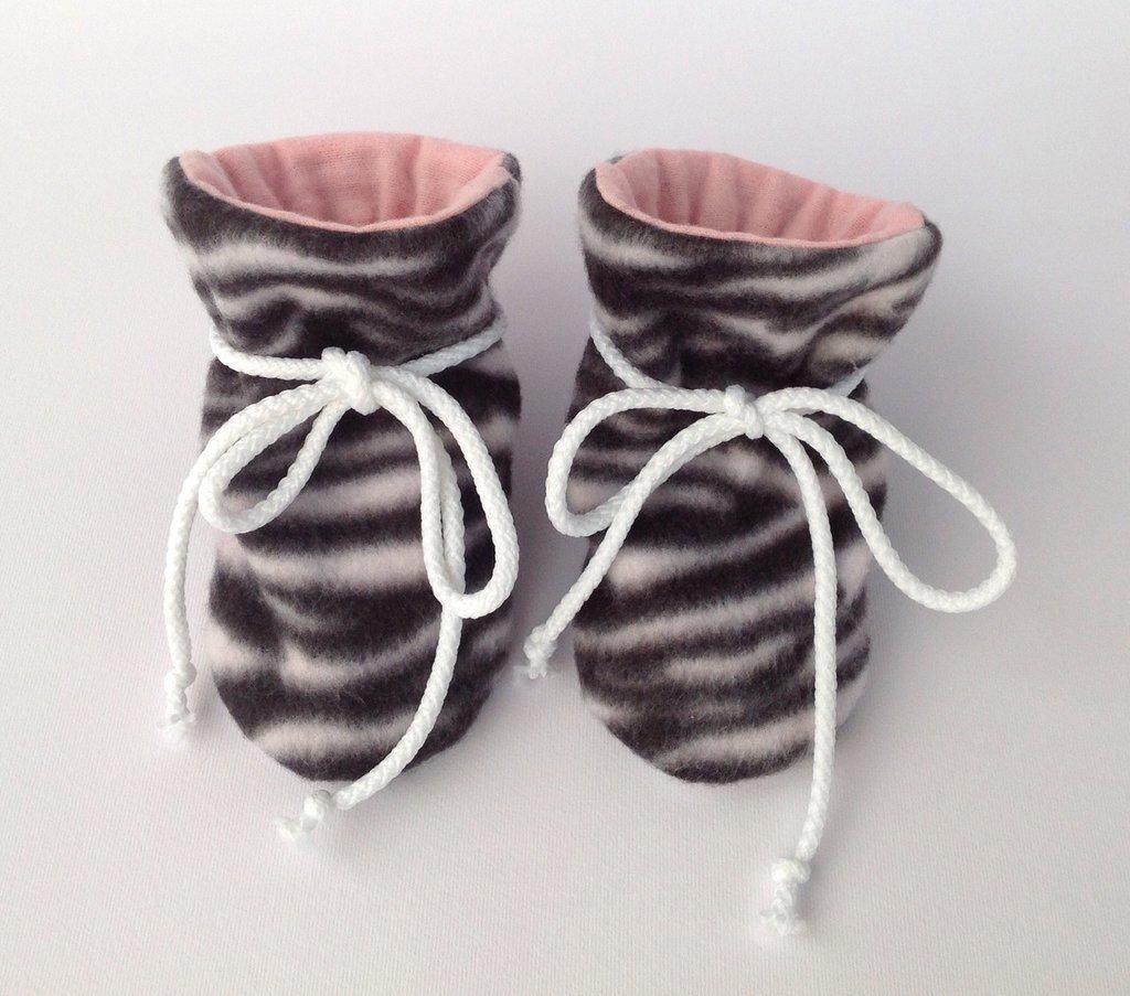 """Babbucce scarpine pile """"zebra"""" - bambina 0-6 mesi"""
