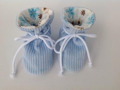 Babbucce scarpine velluto azzurro - bambino 0-6 mesi