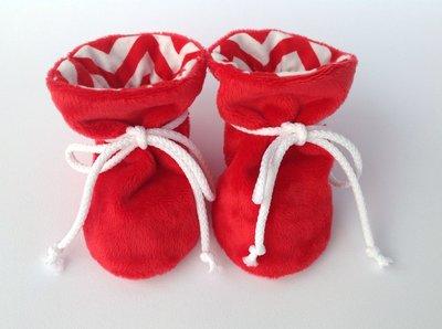 Babbucce scarpine pile rosso - bambino/a 0-6 mesi