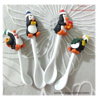 Cucchiaino decorato pinguino fimo