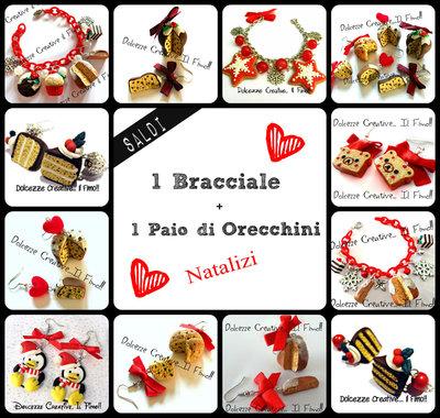 Offerta Saldi Idea regalo natale 1 bracciale + 1 paio orecchini biscotti pandoro panettone miniature regalo fidanzata