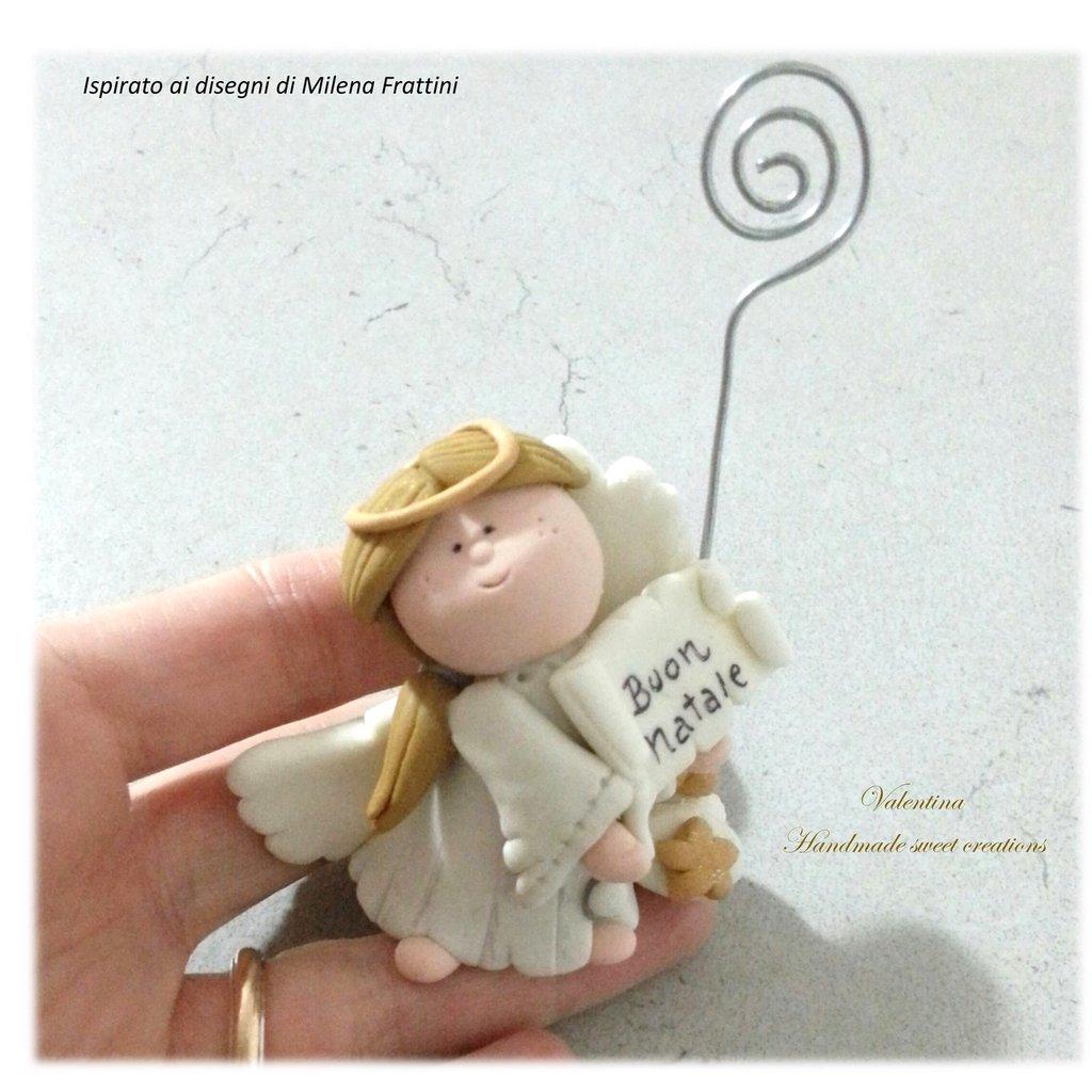 Segnaposto angelo con pergamena Buon Natale