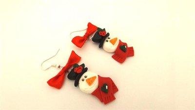 JUST XMAS - ORECCHINI FIMO - pupazzo di neve con sciarpa ROSSA  - idea regalo natale