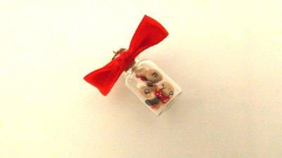 JUST XMAS -  CIONDOLO  BOTTIGLIETTA fimo con biscottini gingerbread omini di pan zenzero - SOLO 4 MM!!!   - idea regalo natale