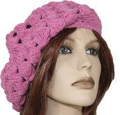 Basco berretto lana rosa donna realizzazione artigianale uncinetto