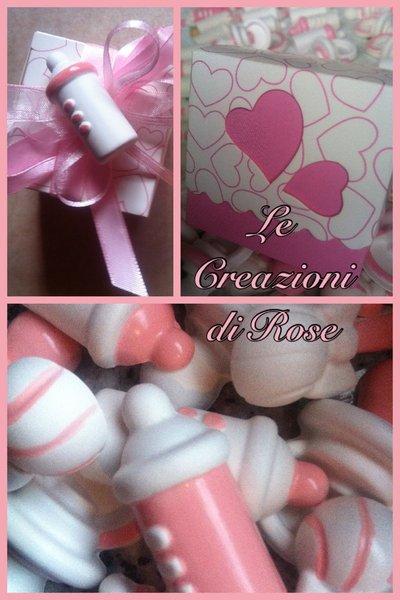 Gessi  scatoline gessetti profumati bomboniera battesimo rosa bimba