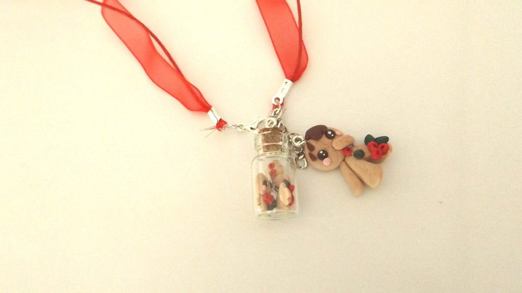 JUST XMAS -  COLLANA   BOTTIGLIETTA fimo con biscottini gingerbread omini di pan zenzero e biscottino mod. 2  - SOLO 4 MM!!!   - idea regalo natale