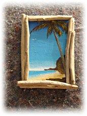 """Quadretto """"ISOLAMENTO"""" con legni di mare e pittura acrilica"""