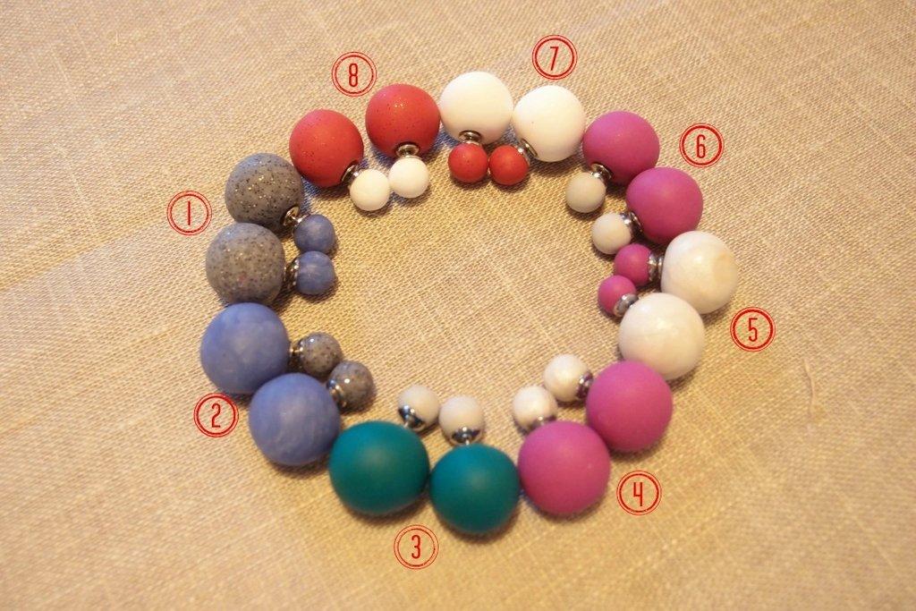 Orecchini doppia perla in fimo