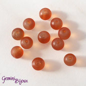 Lotto 20 Perle tonde Frosted effetto ghiaccio 6mm arancio
