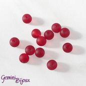 Lotto 20 Perle tonde Frosted effetto ghiaccio 6mm rosso