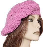 Basco lana rosa donna realizzazione artigianale uncinetto