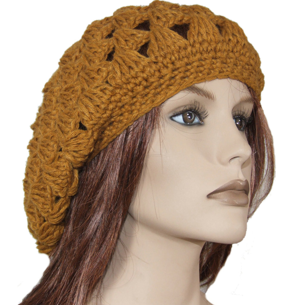Basco donna lana uncinetto giallo senape