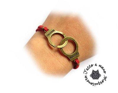 Bracciale Manette Freedom donna braccialetto pelle colori misti e metallo