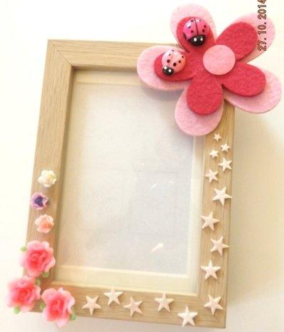 Portafoto con fiori e stelline in fimo e fiore grande in feltro con coccinelle portafortuna idea regalo Natale bambina!!