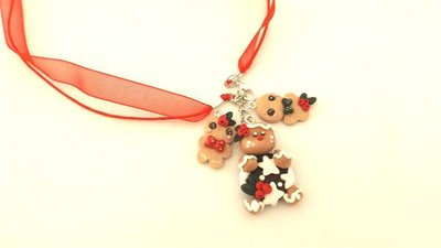 JUST XMAS - FIMO NATALE - COLLANA con PAN DI STELLE e OMINI PAN ZENZERO GINGER BREAD e  due biscottini