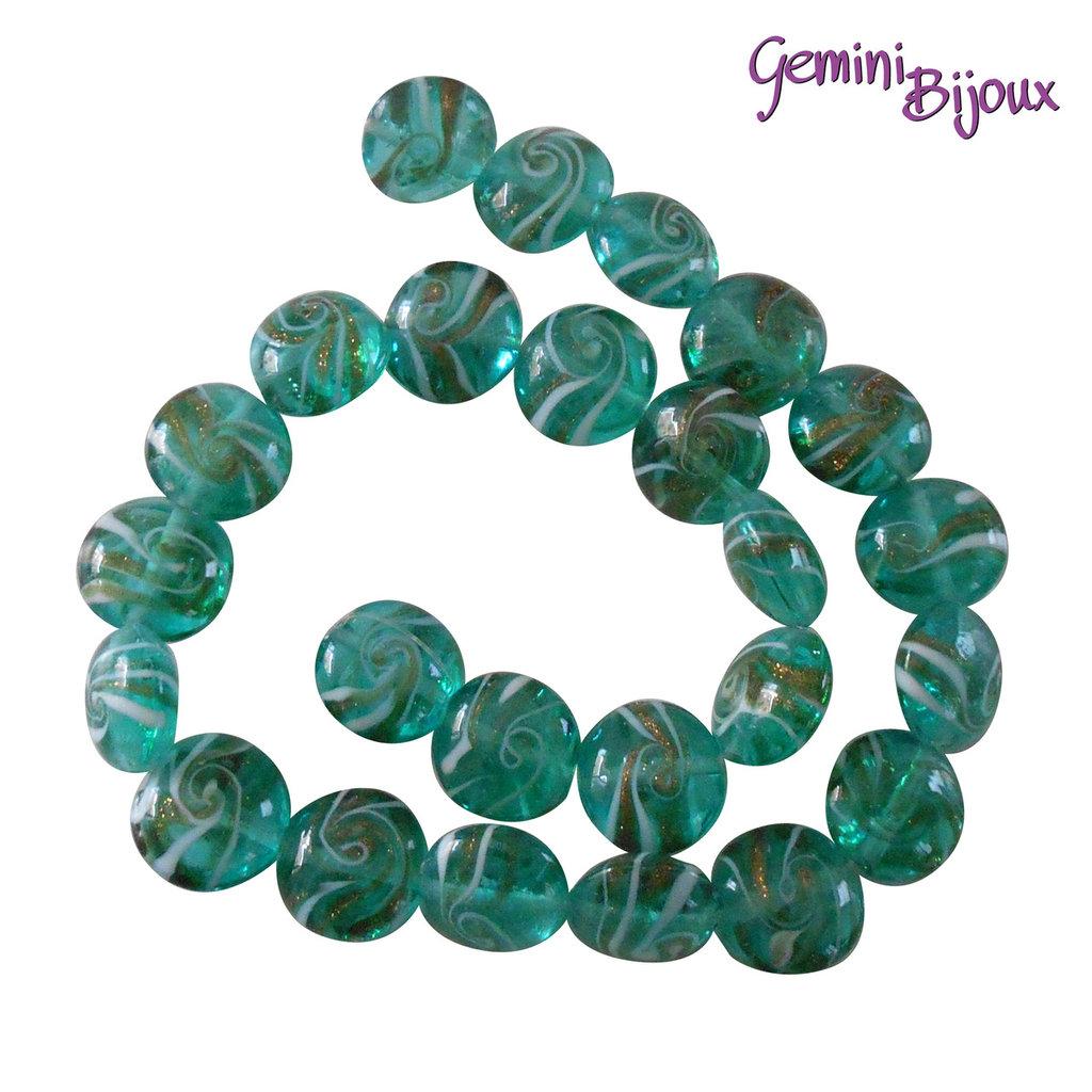 OFFERTA LAMPWORK: fila 25 perle tonde verdi variegate 13 mm