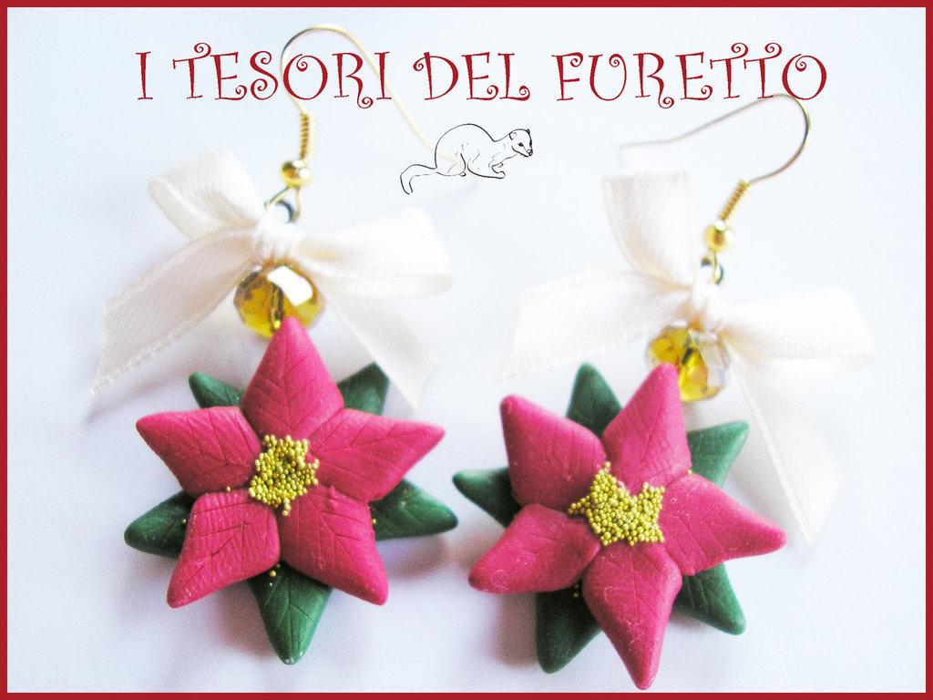 """Orecchini Natale 2014 """"Stella di Natale rossa """" Fimo cernit kawaii idea regalo economica bijoux natalizi"""
