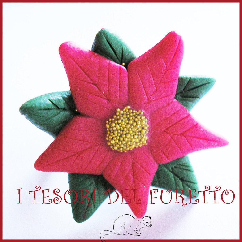 """Anello Natale 2014 """"stella di natale rossa"""" fimo cernit kawaii idea regalo bijoux natalizi"""