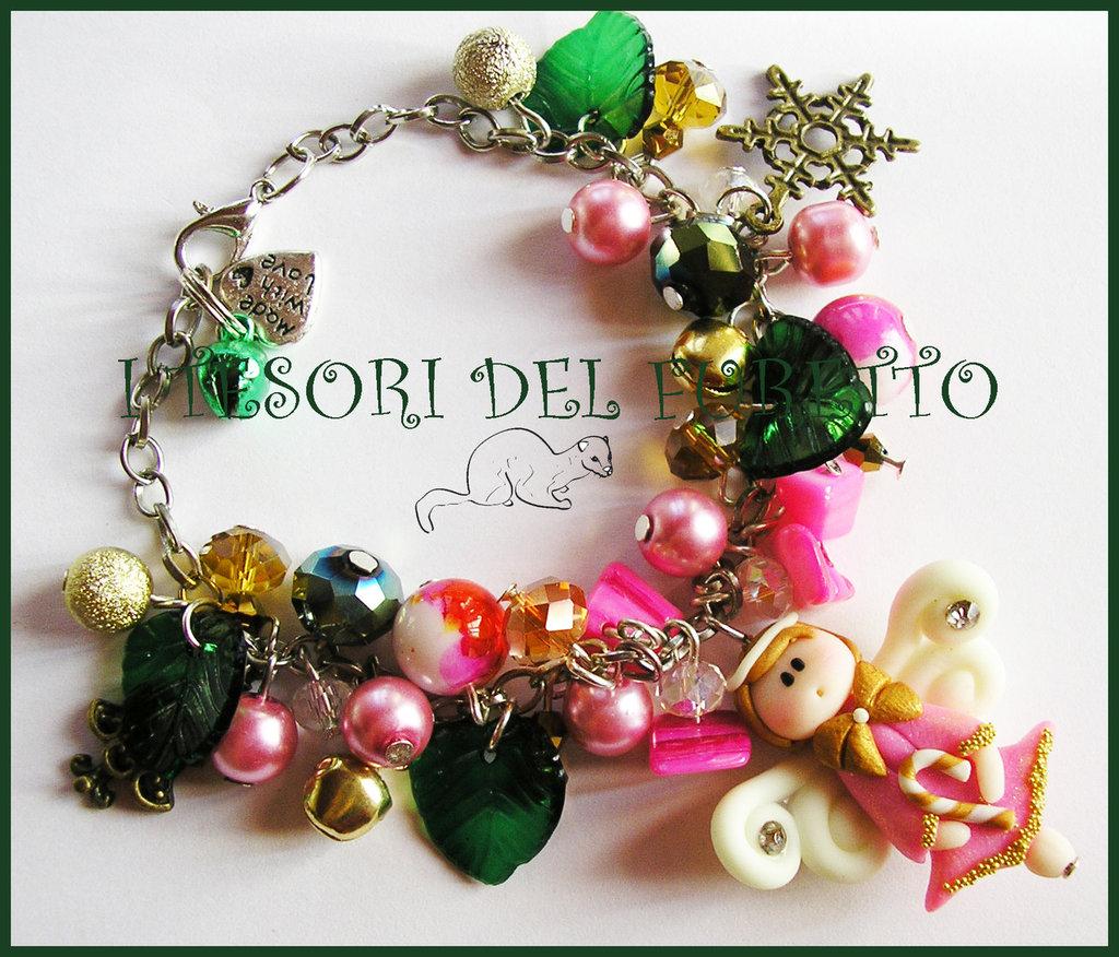 "Bracciale Natale 2014 ""Fufufangel rosa Fucsia oro"" Fimo cernit kawaii angelo angioletto idea regalo"