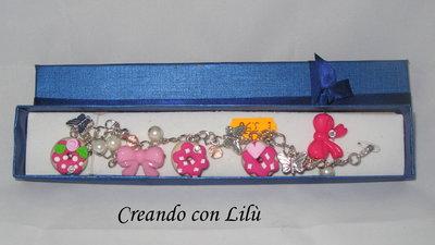 bracciale ciondoli in fimo ciambelle rosa