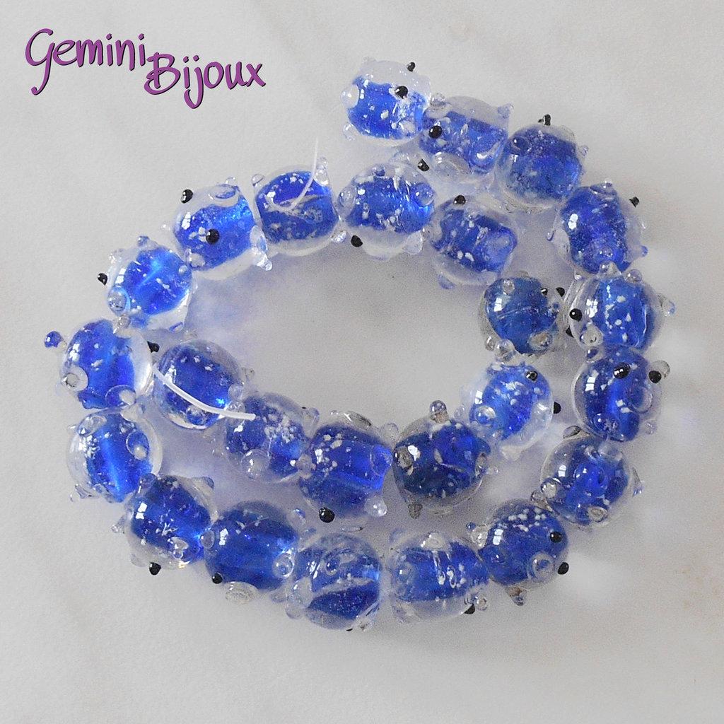 OFFERTA LAMPWORK: fila 25 sfere crystal blu 12mm