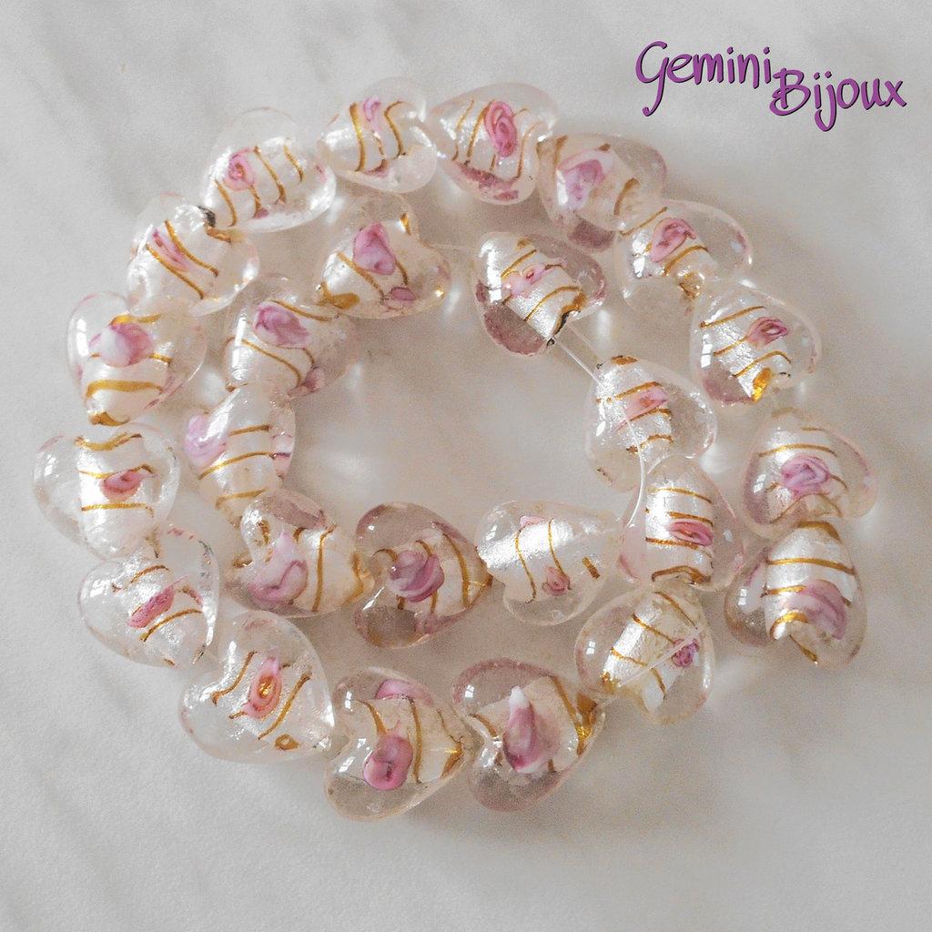 OFFERTA LAMPWORK: fila 25 cuori crystal rosa 20x20