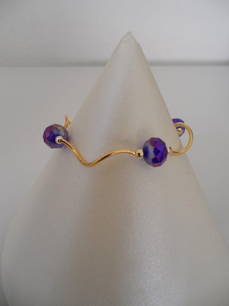 Bracciale Luminoso Dorato con Cristalli Viola