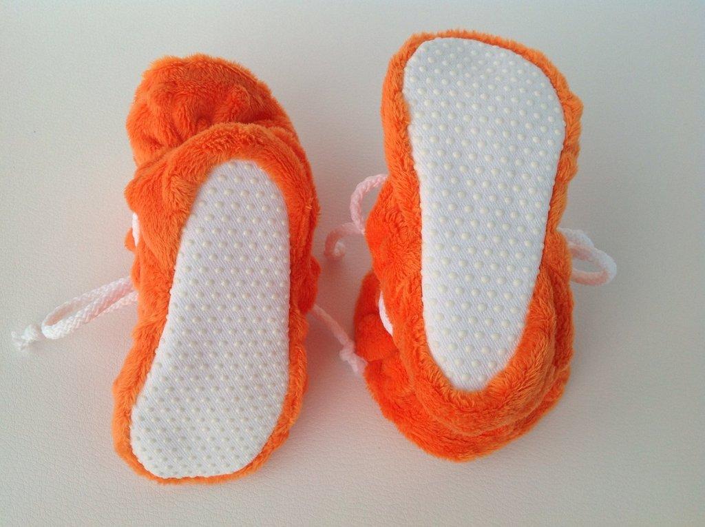 Babbucce pile arancio con suola antiscivolo - Bambini 6-12 mesi