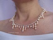 Collana con Perle d'Acqua Dolce Color Champagne. Champagne Freshwater Pearl Necklace. Spedizione Gratuita.