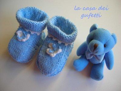 Scarpine per neonato azzurre con farfalla