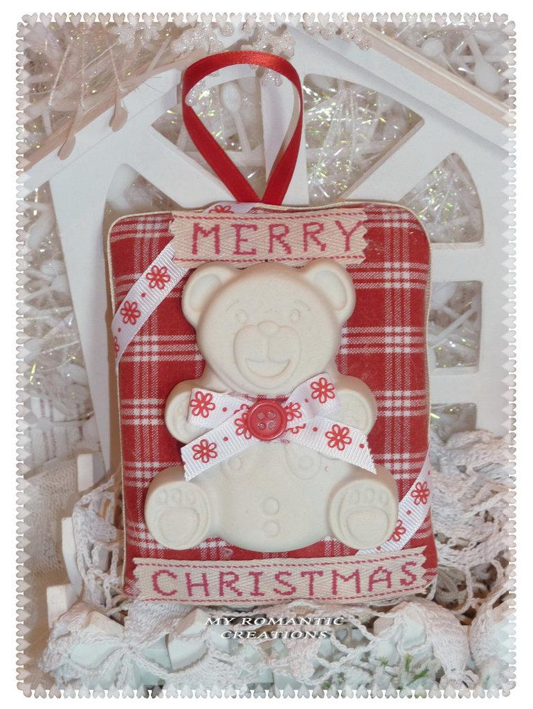 Targa orsetto di Natale.