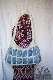 Borsa ghiaccio, in lana, lavorata all'uncinetto
