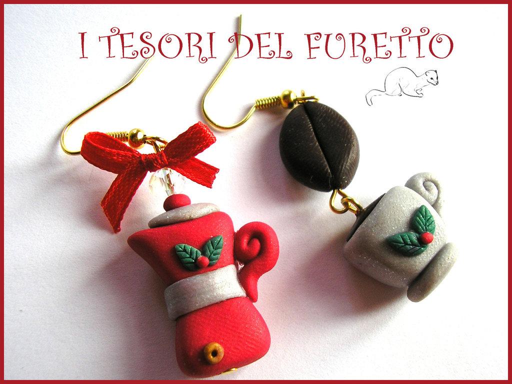 """Orecchini """"Fufumoka di Natale"""" caffettiera tazza caffè idea regalo 2014"""