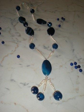 collana argento e agata blu
