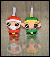 Decorazioni natalizie in pannolenci Babbo Natale ed Elfo, fatti a mano.
