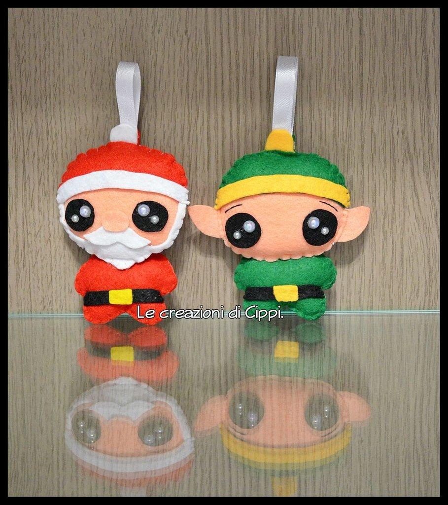 Decorazioni natalizie in pannolenci babbo natale ed elfo for Creazioni di natale fatte a mano