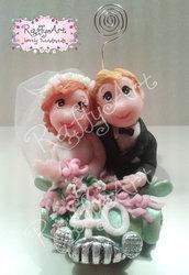 """Cake topper per 40 anni di matrimonio """"Coppia smeraldo (vers. 2)"""" (personalizzabile)"""