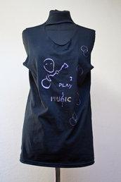 """T-shirt senza maniche con stencil kodama """"i play music"""""""