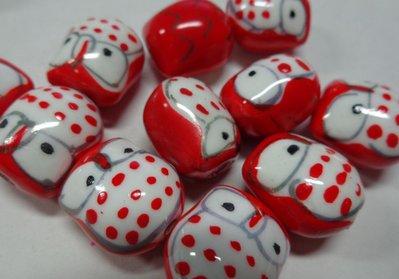 4 Perline Gufetti ROSSI Porcellana