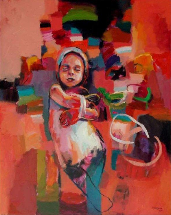 Bambina su superficie rossa-KHALED STAITYIA