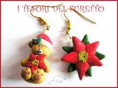 """Orecchini Natale """"Fufuorsetto beige e stella di Natale rossa"""" fimo cernit kawaii idea regalo bambina 2014"""