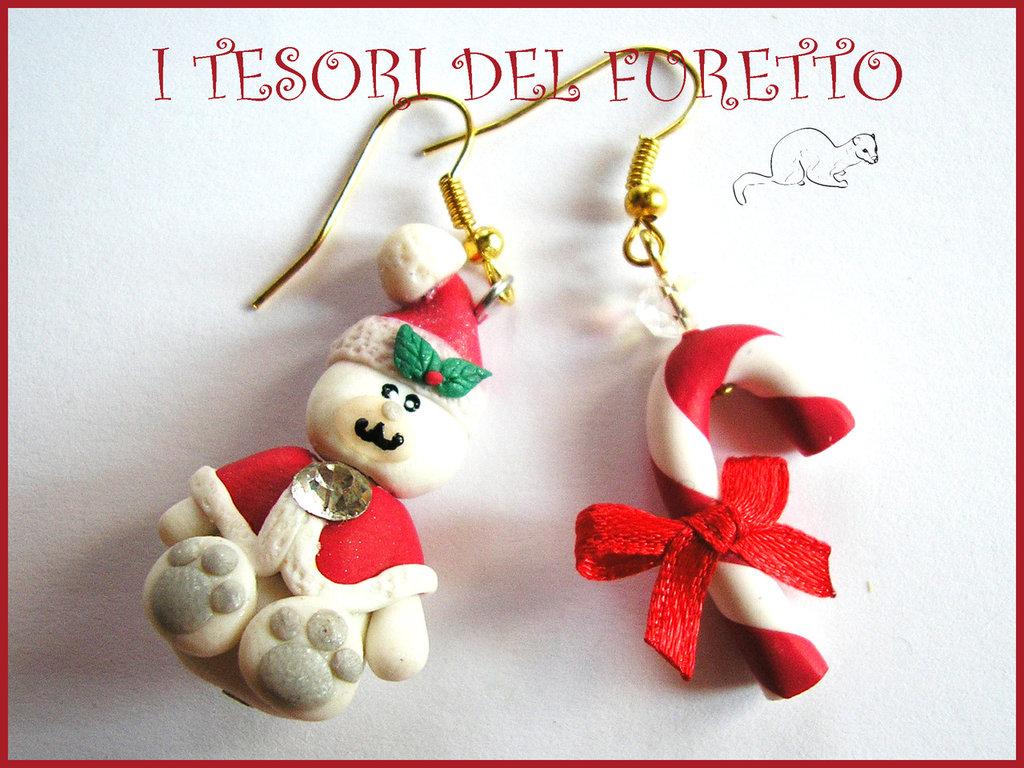 """Orecchini Natale """"Fufuorsetto e bastoncino di zucchero""""  fimo cernit kawaii bijoux natalizi 2014 regalo bambina"""