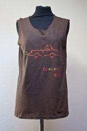 """T-shirt senza maniche con stencil kodama """"ecologic car"""""""
