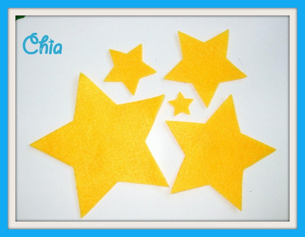 5 stelle feltro fustellate di 5 misure