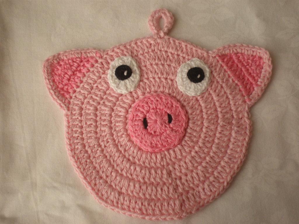 presina maialino rosa uncinetto