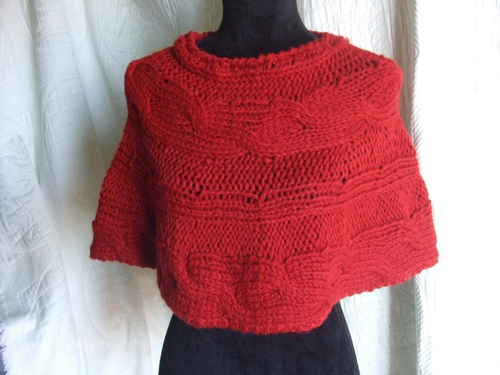 copri spalle sciarpa donna lana maglia fatto amano