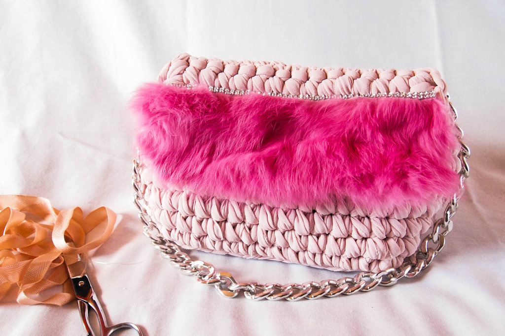 Bauletto  in fettuccia in lycra   fatta a mano all'uncinetto, Crochet hand made